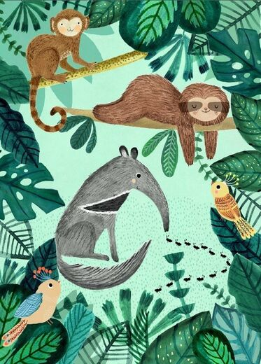 Postikortti Petit Monkey - Anteater and sloth