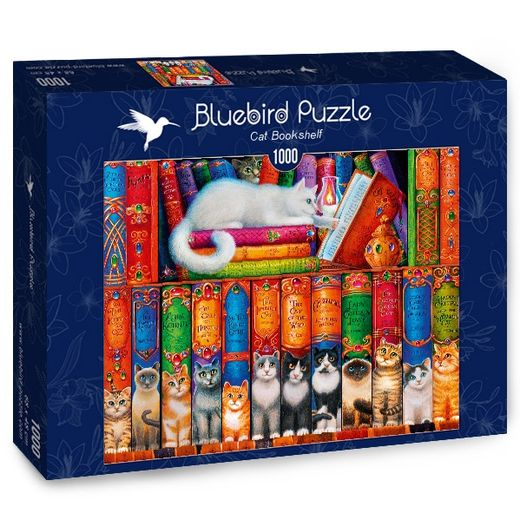 Palapeli Bluebird - Cat Bookshelf (1000 palaa)