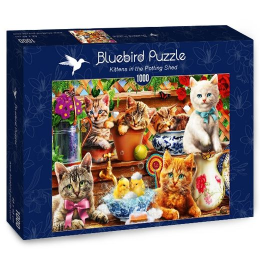 Palapeli Bluebird - Kittens in the Potting Shed (1000 palaa)