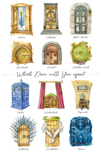 Postikortti Harry Potter - Which door will you open?