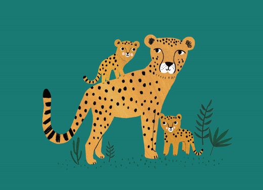Postikortti Petit Monkey - Cheetah and cubs