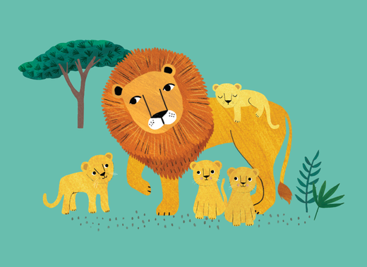 Postikortti Petit Monkey - Lion and cubs