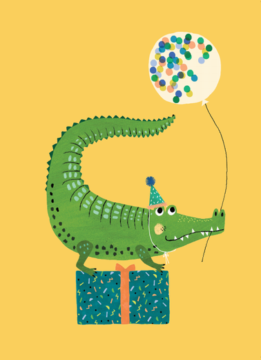 Postikortti Petit Monkey - Party crocodile