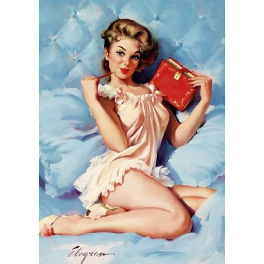 Postikortti Pin-Up - With a book