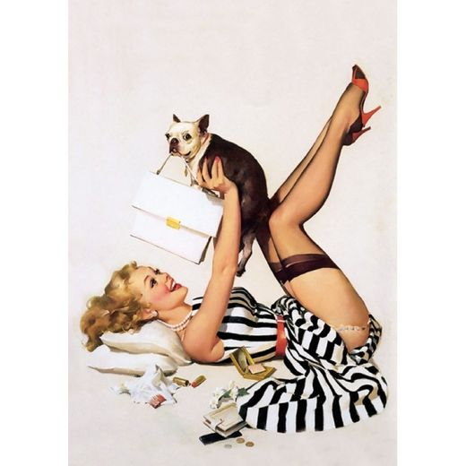 Postikortti Pin-Up - With dogs