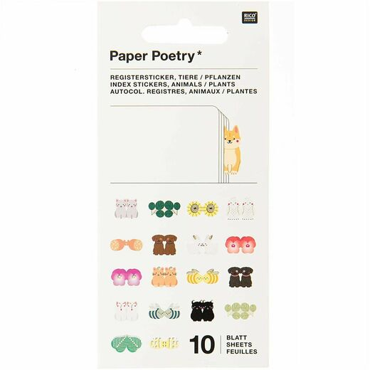 Sivunmerkkaajasetti Paper Poetry - Index Animals