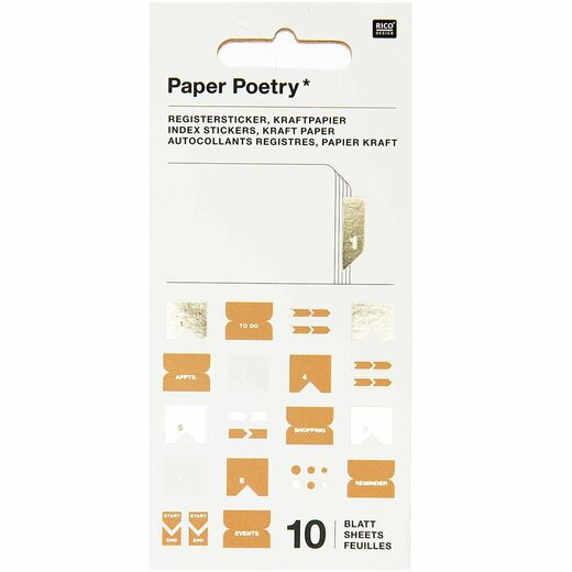 Sivunmerkkaajasetti Paper Poetry - Index Kraft