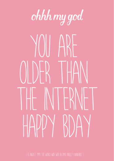 Postikortti Studio Inktvis - You are older than the internet (pinkki)