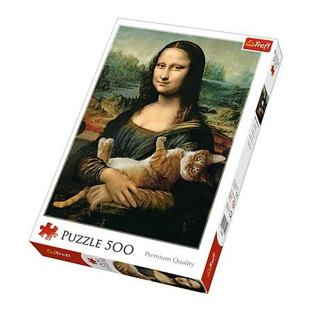Palapeli Trefl - Mona Lisa and Purring Kitty (500 palaa)